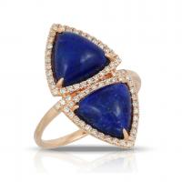 14k Rose Gold Diamond Ring With White Topaz Over Lapis