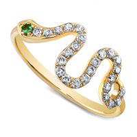DIAMOND SNAKE RING-GREEN TOURMALINE EYE