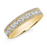 Channel-prong diamond band 14k yellow
