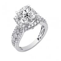 18KW Prong/Bezel Set Round/Cushion cut Diamond Square Halo Style Diamond Ring
