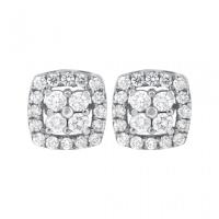14KW Prong Set Round Diamond Square Earrings