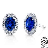 sapphire and diamond halo earrings