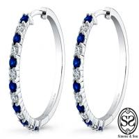 custom diamond and sapphire hoops
