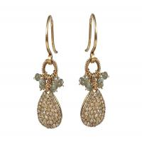 14K Yellow Gold, Diamond and Silverite Earrings