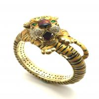 CARTIER DIAMOND AND ENAMEL YELLOW GOLD BANGLE TIGER BRACELET