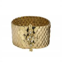 RETRO DIAMOND AND 18K YELLOW GOLD BUCKLE BRACELET