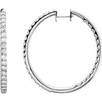 14K White 5 CTW Diamond Hinged Inside-Outside Hoop Earrings