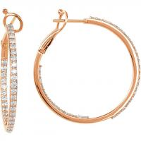 14K Rose 1 1/3 CTW Diamond Inside/Outside Hoops