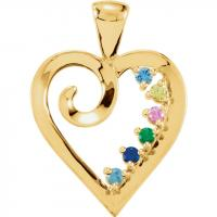 14K Yellow 6-Stone Family Heart Pendant Mounting