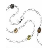 colore sg sterling silver colore by the yard necklace in honey citrine, lemon quartz, citrine, and smoky quartz.