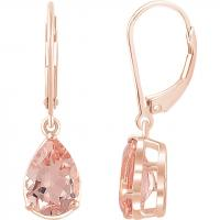 14K Rose Morganite Lever Back Earrings