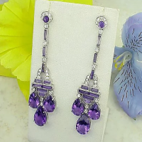 18k white gold amethyst & diamond earrings