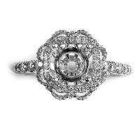 18K white gold round diamond round halo engagement mounting with milgrain open flower design top