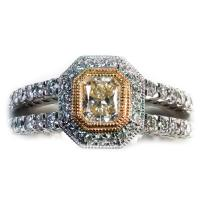18K white and yellow gold split shank diamond halo engagement mounting (shown with radiant diamond center)