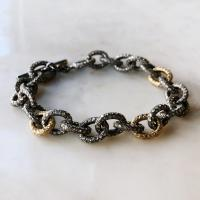 silver and gold diamond link bracelet