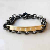 bar bracelet with tapered baguette diamonds
