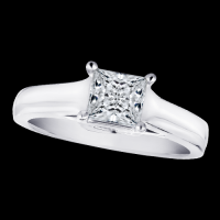 Diamond Princess Cut Wide Band Solitaire