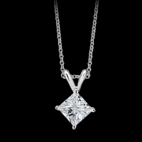 diamond princess cut stud pendant