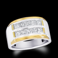 Men's Double Row Princess Cut Channel Set Two Tone Ring
