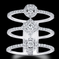 diamond trio band halo open ring