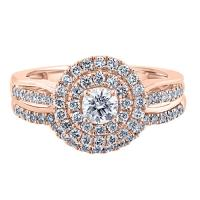 calista, 1 ctw double-halo bridal set, set in 14k rose gold
