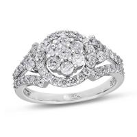 Aff Luxury Collection, 10K White Gold Round I3 Diamond Ring, 1 ctw