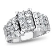NK Mosaic Diamond Collection, 1 1/2 ctw Diamond Engagement Ring in 14K White Gold