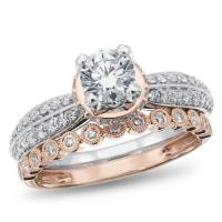calista collection, 14k white and rose gold diamond engagement ring, 1 ctw.