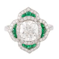 1.76 antique cushion diamond ring with emeralds in platinum