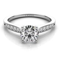 14KT WHITE GOLD CATHEDRAL DIAMOND ENGAGEMENT RING