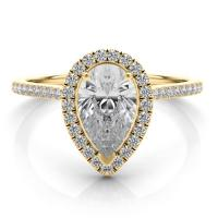 14kt yellow gold pear shape halo diamond engagement ring