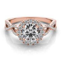 14KT ROSE GOLD INFINITY DIAMOND HALO ENGAGEMENT RING