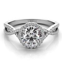 14KT WHITE GOLD INFINITY DIAMOND HALO ENGAGEMENT RING