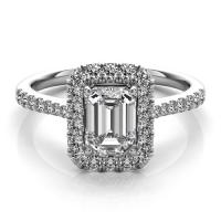 14KT WHITE GOLD EMERALD CUT HALO DIAMOND ENGAGEMENT RING