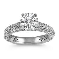Round Diamond Cathedral Engagement Ring with Pave Setting