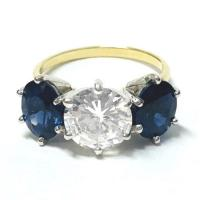 YELLOW GOLD VINTAGE DIAMOND SAPPHIRE RING