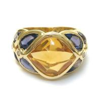 YELLOW GOLD VINTAGE CITRINE IOLITE DIAMOND RING