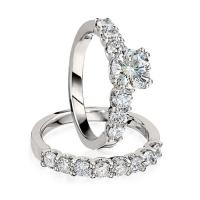 gottlieb & sons engagement ring set: prong-set round diamond