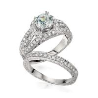 Gottlieb & Sons Engagement Ring Set: Vintage Inspired Split-Shank Halo