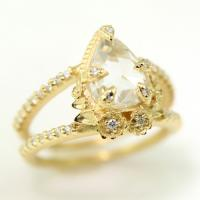 Limited Collection Leaf Prong Ring in 18K yellow gold with 1.71ct rose cut pear diamond