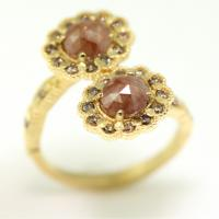 Limited Collection Mosaic Bypass Ring with 1.43tcw rustic red diamonds and cognac diamonds
