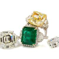 platinum and columbian emerald ring; fancy yellow diamond 3 stone ring