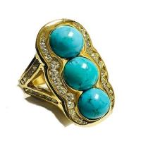 Gold Cabochon Cut Turquoise and Diamond Ring