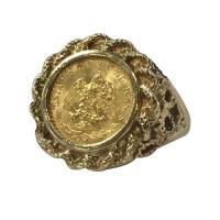 10 k yellow gold ladies ring w 2 peso coin