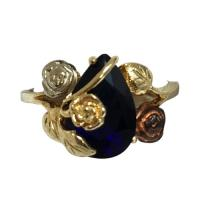 14 k yellow gold simulated sapphire ring