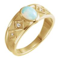 14K White Onyx & .05 CTW Diamond Ring