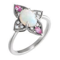 14k white ethiopian opal, pink sapphire & .05 ctw diamond ring