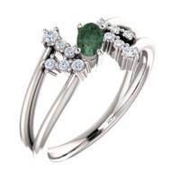 14k white chatham® created alexandrite & 1/8 ctw diamond bypass ring