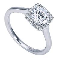 14k White Gold Diamond Halo Half Round Ring – ER7818W44JJ