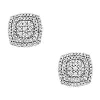 1/2 ct. tw. Diamond Cluster Earrings in 10K White Gold